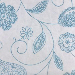 Floral Blue Flowers Semi Sheer Fabric
